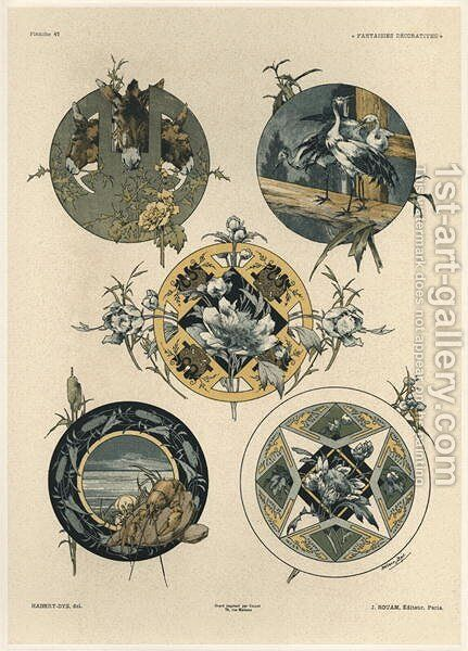 Circles plate 42 from Fantaisies decoratives by (after) Habert-Dys, Jules-Auguste - Reproduction Oil Painting