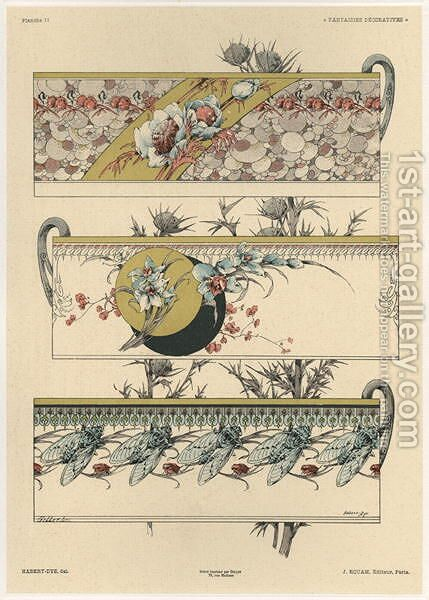 Flowers and flies plate 11 from Fantaisies decoratives by (after) Habert-Dys, Jules-Auguste - Reproduction Oil Painting