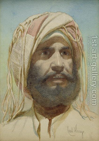 Portrait of a Bearded Tribesman by Carl Haag - Reproduction Oil Painting