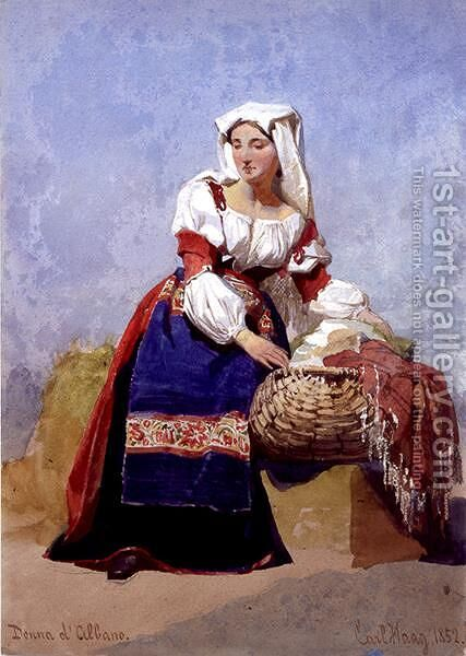 Donna dAlbano portrait of an Italian country girl seated with a basket of washing by Carl Haag - Reproduction Oil Painting