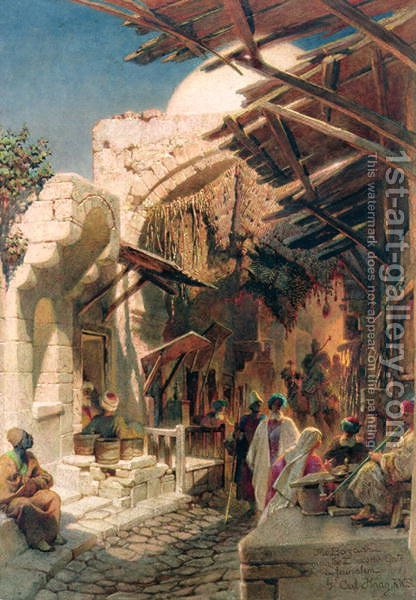 The Bazaar near the Damascus Gate in Jerusalem by Carl Haag - Reproduction Oil Painting