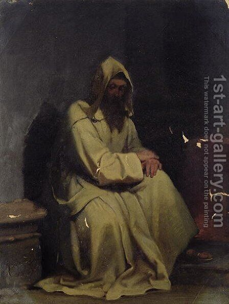 Portrait of a Monk Seated by Carl Haag - Reproduction Oil Painting