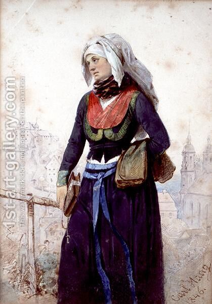 A Nun in Bavaria by Carl Haag - Reproduction Oil Painting