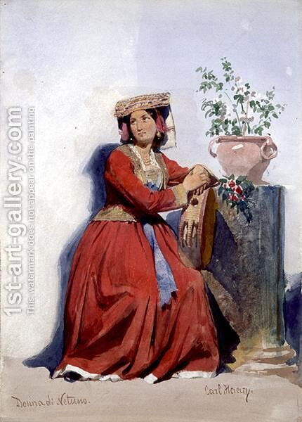Donna di Netuno portrait of an Italian country girl by Carl Haag - Reproduction Oil Painting