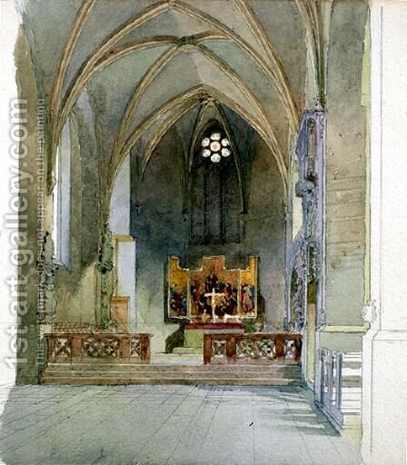 A Church Interior by Carl Haag - Reproduction Oil Painting