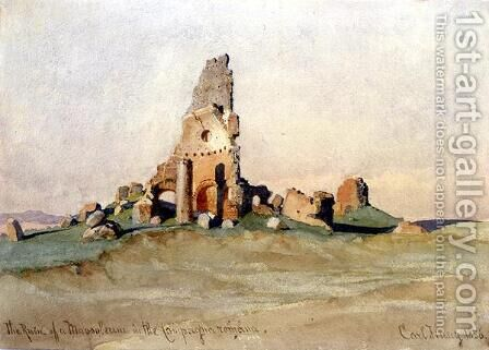 The Ruin of a Mausoleum in the Roman Countryside by Carl Haag - Reproduction Oil Painting