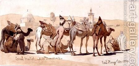 Camel Market Outside Damascus by Carl Haag - Reproduction Oil Painting