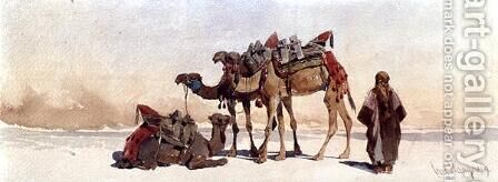 Resting with Three Camels in the Desert by Carl Haag - Reproduction Oil Painting