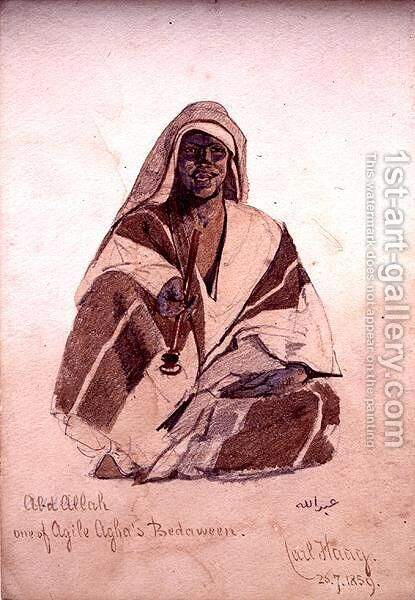 Abd Allah one of Agile Aghas Bedouin by Carl Haag - Reproduction Oil Painting