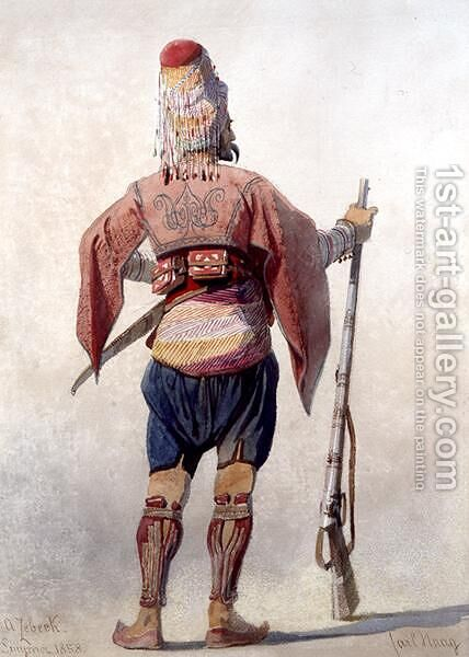 A Zebeck a Turkish warrior standing holding a gun by Carl Haag - Reproduction Oil Painting