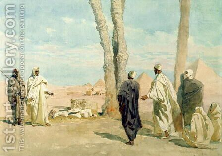 Bedouin from the Sahara Desert making Enquiries at Giza by Carl Haag - Reproduction Oil Painting