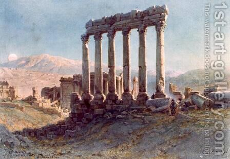 The Remains of the Temple of the Sun at Baalbek by Carl Haag - Reproduction Oil Painting