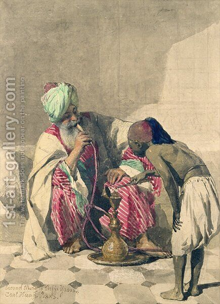 The Nargileh Smoker and his slave boy by Carl Haag - Reproduction Oil Painting