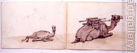 Two sketches of dromedaries by Carl Haag - Reproduction Oil Painting