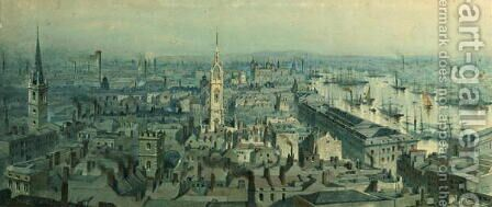 View of London from Monument looking East by Carl Haag - Reproduction Oil Painting