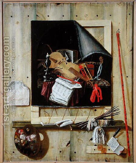 Trompe lOeil Still Life by Cornelis Norbertus Gysbrechts - Reproduction Oil Painting