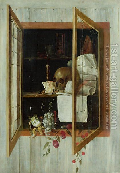 Vanitas still life seen through a trompe loeil window by Cornelis Norbertus Gysbrechts - Reproduction Oil Painting