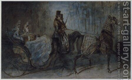 Elegant women in a horse draw carriage by Constantin Guys - Reproduction Oil Painting