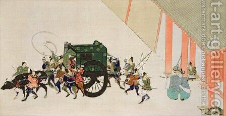 An Emperor Fleeing a Palace Disguised as a Woman in Carriage by (after) Gukei, Sumiyoshi Hirozumi - Reproduction Oil Painting