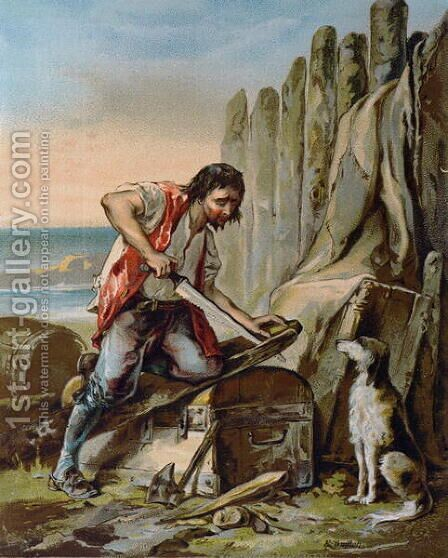 Robinson Crusoe Building his First Dwelling by E. Guillon - Reproduction Oil Painting