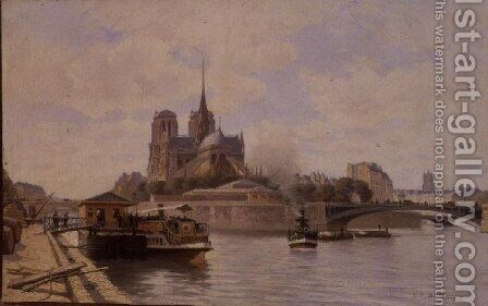 The Seine at Notre Dame by C.T. Guillermot - Reproduction Oil Painting