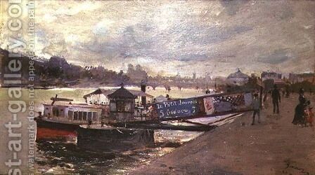 View of a Quayside by Jacques Guiaud - Reproduction Oil Painting