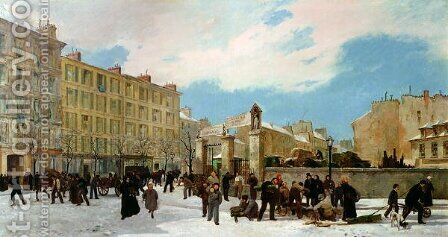 Siege of Paris A Yard for Firewood Boulevard de Montparnasse by Jacques Guiaud - Reproduction Oil Painting