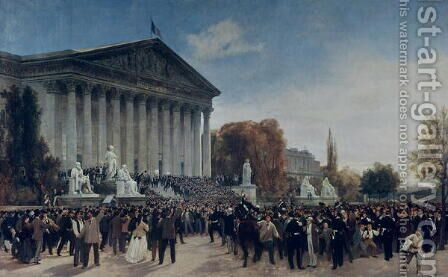 The Palais du Corps Legislatif after the Last Sitting on 4th September 1870 by Jacques Guiaud - Reproduction Oil Painting