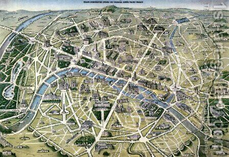Map of Paris during the period of the Grands Travaux by Hilaire Guesnu - Reproduction Oil Painting