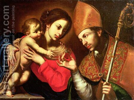 Madonna and Child with St Zenobius by A. F. (da Solofra) Guarino - Reproduction Oil Painting