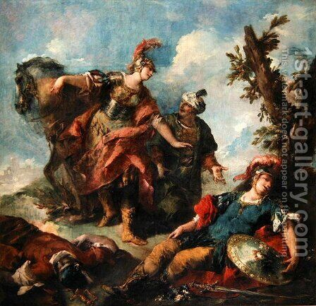 Herminia and Vaprinus Happen upon the Wounded Tancredi after his Duel with Argante by Giovanni Antonio Guardi - Reproduction Oil Painting
