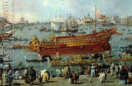 The Departure of the Bucentaur Towards the Venice Lido on Ascension Day by (after) Guardi, Francesco - Reproduction Oil Painting
