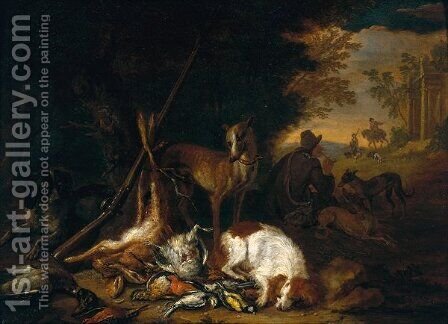 A Hunter with his Dogs by Adriaen de Gryef - Reproduction Oil Painting
