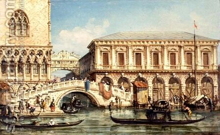 View of the Doges Palace the Bridge of Sighs and the Prison by Giovanni Grubacs - Reproduction Oil Painting
