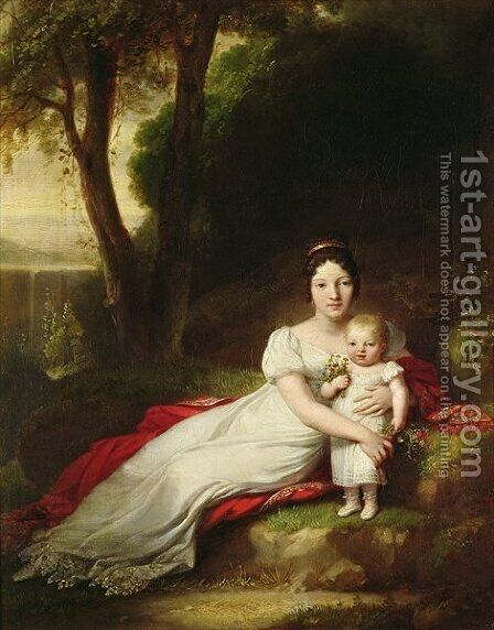 Hortense Eugenie de Beauharnais 1783-1837 Queen of Holland with her son Charles Louis Napoleon Bonaparte 1808-73 by Antoine-Jean Gros - Reproduction Oil Painting