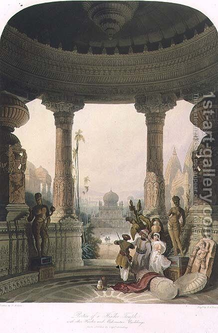 Portico of a Hindoo Temple with other Hindoo and Mahomedan Buildings by (after) Grindlay, Captain Robert M. - Reproduction Oil Painting