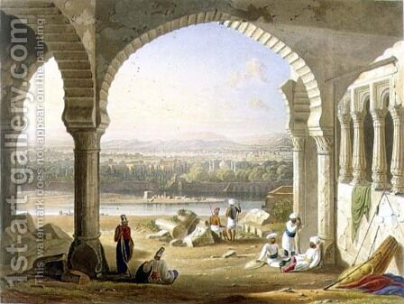 Aurungabad from the Ruins of Aurungzebes Palace by (after) Grindlay, Captain Robert M. - Reproduction Oil Painting