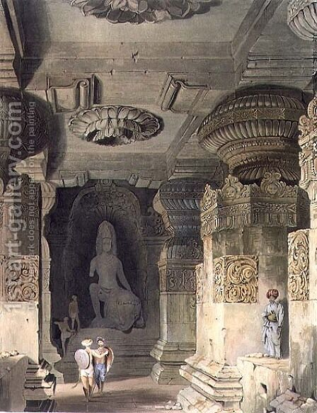 Interior of the Cave Temple of Indra Subba at Ellora by (after) Grindlay, Captain Robert M. - Reproduction Oil Painting