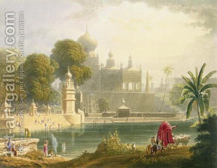 View of Sassoor in the Deccan by (after) Grindlay, Captain Robert M. - Reproduction Oil Painting