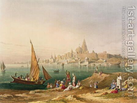 The Sacred Town and Temples of Dwarka by (after) Grindlay, Captain Robert M. - Reproduction Oil Painting