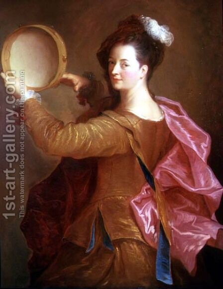 Portrait of a Woman with a Tambourine by Jean-Alexis Grimou - Reproduction Oil Painting
