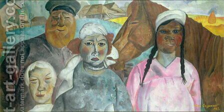The Peasant Family by Boris Dmitrievich Grigoriev - Reproduction Oil Painting