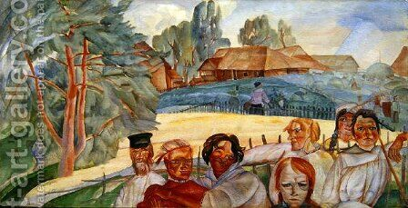Russia from the cycle Visages de Russie by Boris Dmitrievich Grigoriev - Reproduction Oil Painting