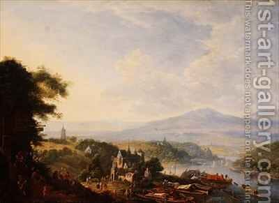 View on the Rhine near Cologne by Jan the Elder Griffier - Reproduction Oil Painting
