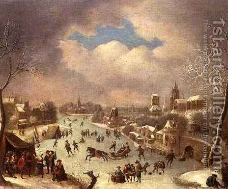 Winter landscape with a horse drawn sleigh by Jan Griffier - Reproduction Oil Painting