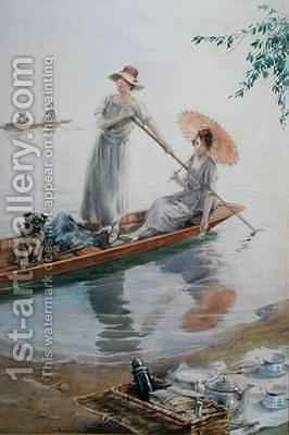 Two girls with their pet pug paddling back to their picnic by Charles MacIvor or MacIver Grierson - Reproduction Oil Painting