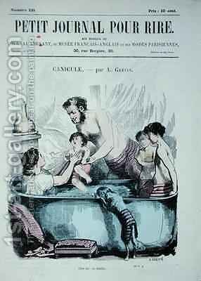 Scorching Heat The Family Bath by Alfred Grevin - Reproduction Oil Painting