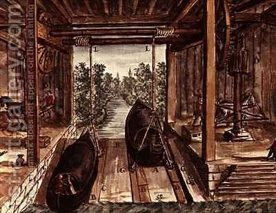 Venetian Lock System by Jan van Grevenbroeck - Reproduction Oil Painting