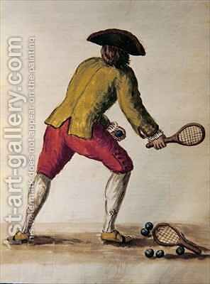 Nobleman playing racquets by Jan van Grevenbroeck - Reproduction Oil Painting