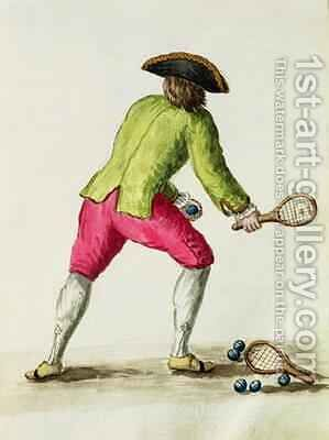 A Man Playing with a Racquet and Balls by Jan van Grevenbroeck - Reproduction Oil Painting